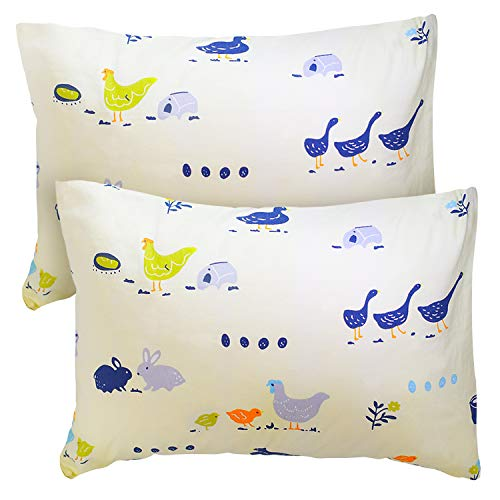 Celeep 4 Piece Set (2 Baby Pillows with 2 Pillowcases) - 13x18 Inches Toddler Bedding Small Pillow - 100% Cotton Animal Pattern Pillow Cases