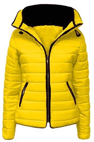 Spesso Donna Pelliccia 14 Collo Cappuccio Con Da In Giacca Imbottito Bolle Giallo 6 Cappotto Giubbotto Fashionchic Trapuntato Fq7wzBBR
