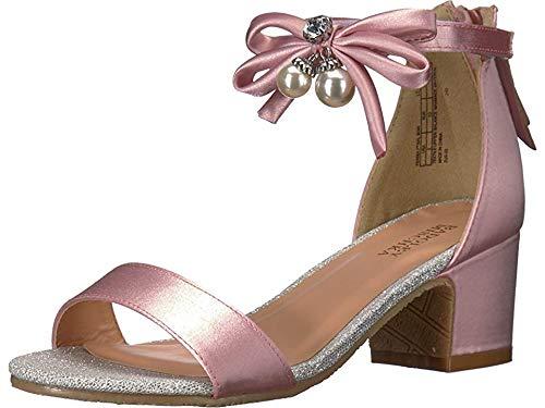 Badgley Mischka Girls' Pernia Pearl Bow, Pink/Silver, 13 Medium US Little Kid ()