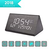 Warmhoming Wooden Digital Alarm Clock with 7 Levels Adjustable Brightness, Voice Command Electric LED Bedside Travel Triangle Alarm Clock