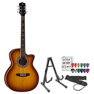 Luna Guitars AMZ100 Americana Zia Acoustic-Electric Guitar w/ Stand, Strap & Pick Sampler