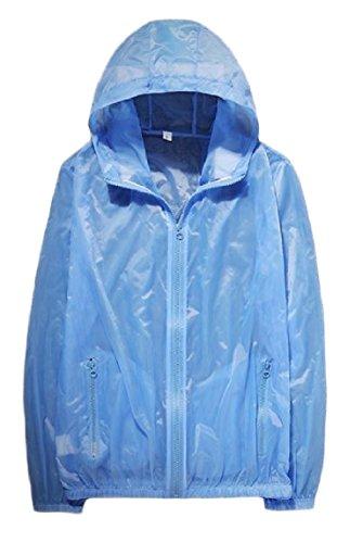 Breathable Sunscreen Full zip Mogogo Solid Beach Colored Sky Jacket Men Blue Hooded OSqxwwEAX