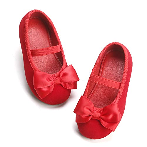 Bear Mall Girls' Shoes Girl's Ballerina Flat Shoes Mary Jane Dress Shoes (Little/Toddler Girls Shoes/Big Kids) (12 M US Little Kid, B803 Red)
