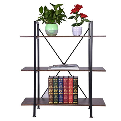 Puyujin Bookshelf, 3-Tier Industrial Bookcase And Book Shelves Vintage Wood And Metal Bookshelves - Shipped from the United States