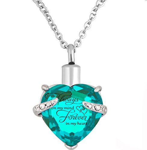 Heart Cremation Urn Necklace for Ashes Urn Jewelry Memorial Pendant with Fill Kit and Gift Box - Always on my mind forever in my heart (Lake Blue)