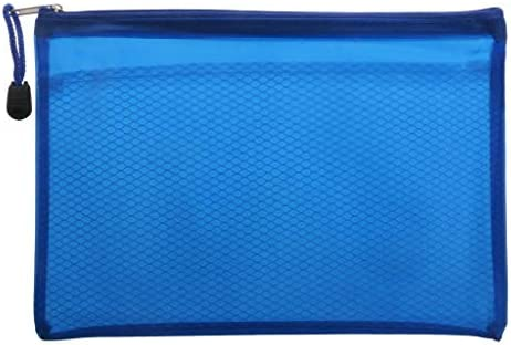Depory Plastic waterdichte mesh bestand zip lock zakken voor het opslaan van documenten bestanden pennen cosmetica235 x 17cm925 x 669blauw