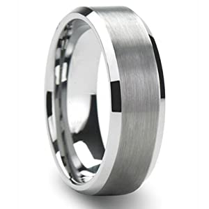tungsten carbide unisex wedding band 6mm flat brushed center beveled edge comfort fit size 8 to 12