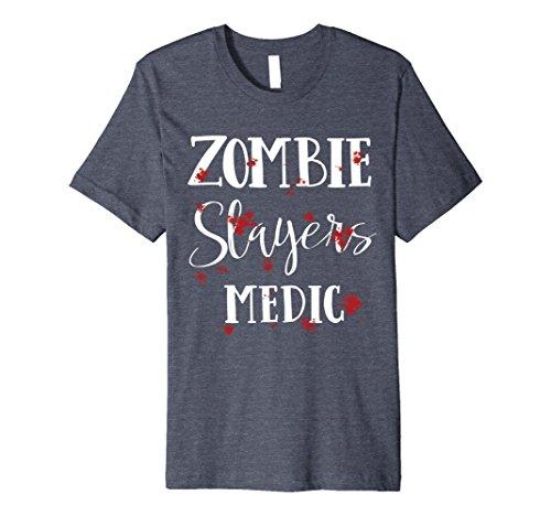 Zombie Slayer Costume Men (Mens Halloween Costume Zombie Slayer Bloody T-Shirt 3XL Heather Blue)