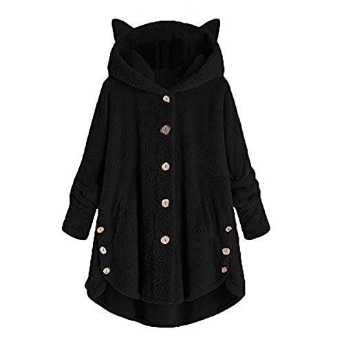 iLOOSKR Winter Warm Hooded Coat Women Plus Size Button Cat Shape Hooded Sweater Blouse Outwear