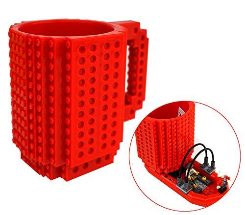 OSOPOLA Build-On Brick Mug Coffee Cup DIY Type Plastic Creative Building Blocks Coffee Tea Beverage Drinking Funny Gift(12oz Red Mug)