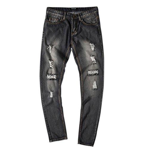 Confortable Droite Fit Homme Légerjeans Pantalon Avec Bleu Nouveau Trous Vintage Style Jean Pantalons Slim Cebbay Brisés Denim x16q6I