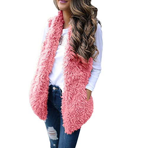 (Sunhusing Women's Winter Soft Warm Plush Vest Trendy Sleeveless Waistcoat Jacket with Pocket)