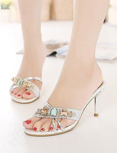 ShangYi Womens Shoes Glitter / Leatherette Stiletto Heel Heels Sandals Office & Career / Dress / Casual golden