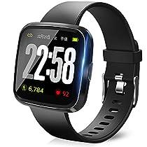 【2019最新版】 スマートウォッチ 血圧計 心拍 歩数計 スマートブレスレット スライド設計 活動量計 睡眠検測 消費カロリー 長い待機時間 着信電話 Line アプリ通知 ランニングモード IP67完全防水 日本語説明書 iPhone/Android対応