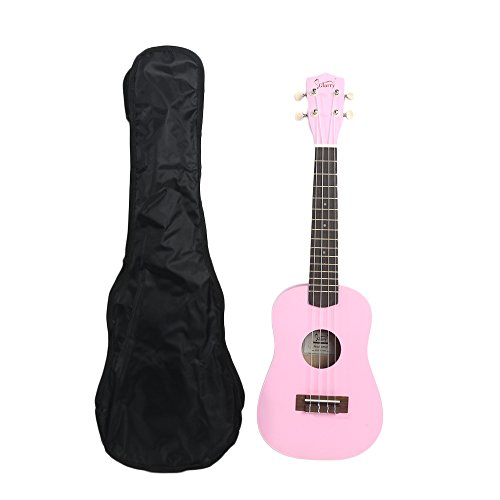 Beginner Ukulele 23'' Pure Color Rosewood Fingerboard Basswood Soprano Ukulele with Carry Bag,Pink by OASIS FOX