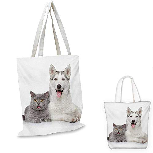 Cat easy shopping bag Animal Theme A Dog and a Cat Lying Together on the White Background Digital Image emporium shopping bag White and Grey. 14