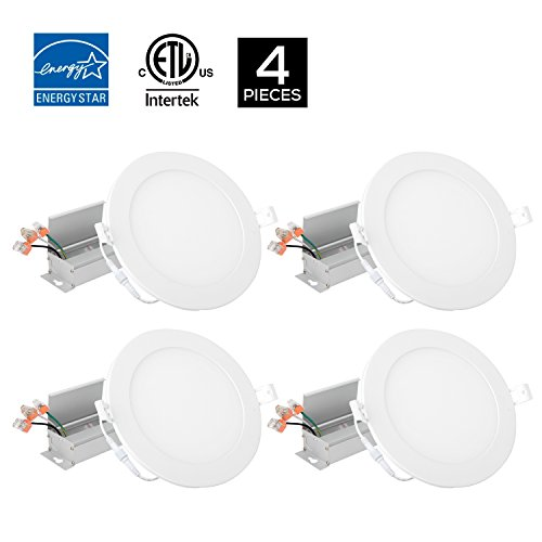 4Pack 6inch 12W Round White Trim Panel Ceiling Light Fixture 5000K Daylight White,1000LM, ETL Approved, With Junction Box