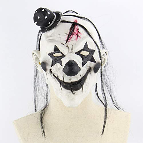 Culturemart 1pc White Black Scary Horror Clown Mask Adult Mens Halloween Costume Hair Hat Creepy Mask Halloween Party Supplies Decoration