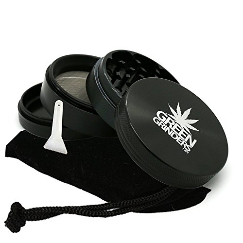 "4-Piece 2.5"" Weed Grinder, Marijuana Grinders, Black Herb Grinder with Kief Catcher & Scraper, Cannabis Grinders - Large Anodized Aluminum & (Carrying Case Also (Aluminum Grater)"