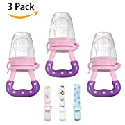 Baby Fresh Food Feeder (Pink) with Adjustable Pacifier Clips 3 Packs, Fruit Food Nipple Teething Training Toy and Tableware, Silicone Pouches for Toddlers