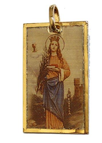 Santa Barbara Cuba Medalla - Sta. Barbara Cuba Medal 18k Gold Plated Medal with 18 Inch Chain