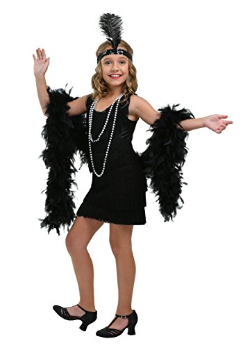 Girls Black Fringe Flapper Costume - S