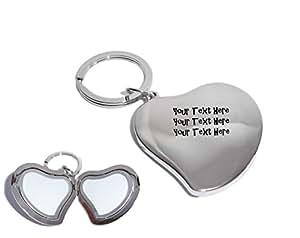 Personalizado plata corazón foto medallón llavero