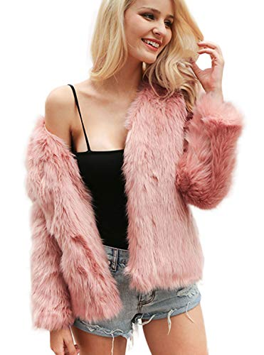 Shilanmei Womens Crop Faux Fur Coat Solid Color Winter Warm Fur Jacket with Long Sleeves Pink