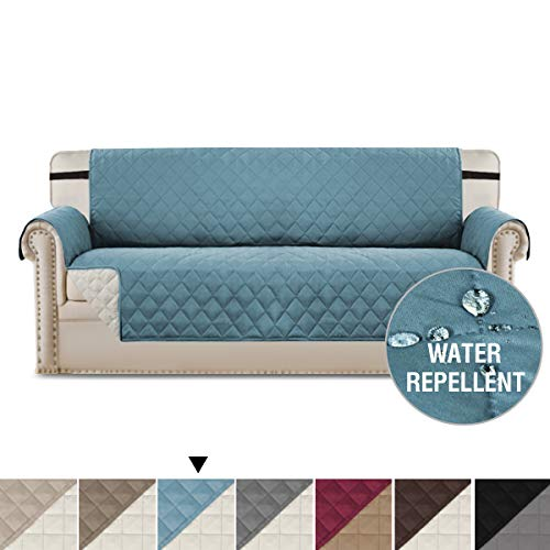 H.VERSAILTEX Water Repellent Sofa Cover Couch Covers for Dogs Furniture Covers for Pets, Premium Elastic Straps Stay in Place, Reversible Slip Resistant Sofa Slipcover Protector (Stone Blue/Beige)