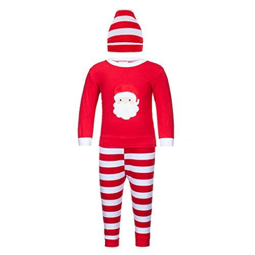 Adoy Kids Unisex Xmas Pajamas Sets Tshirt+Pant+Hat Sleep Suit