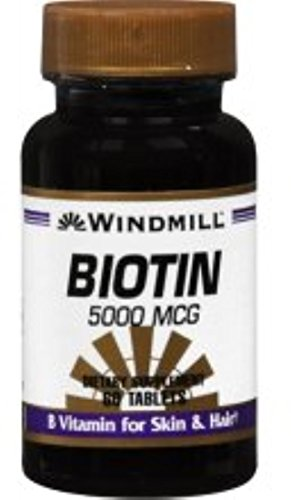 Windmill Biotin 5000 mcg Tablets 60 Tablets (Pack of 12) by Windmill