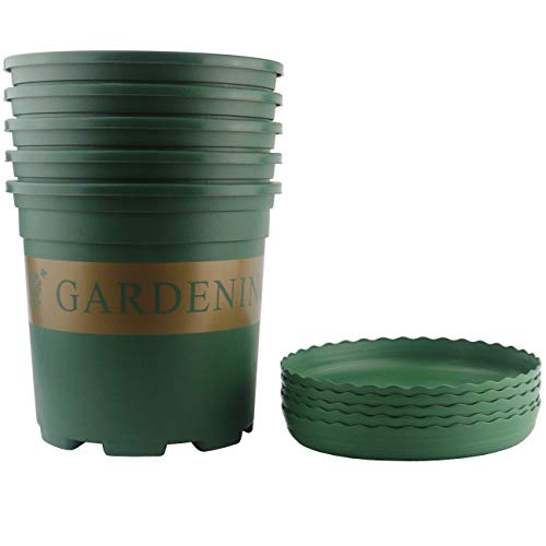 Ogrmar 5PCS 5 Gallon Durable Nursery Pot/Garden Planter Pots/Nursery Plant Container with 5PCS Pallet (5 Gallon) (Garden Nursery)