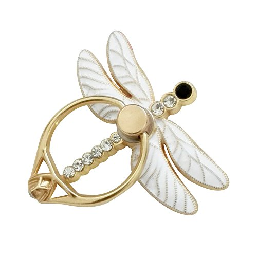 (Ayangg Finger Ring Stand (Dragonfly) Universal Cell Phone Ring Holder 360 Degree Rotation for iPhone Xs XR X 8 7 6 6s Plus 5, Samsung S9 S8 S7 S6, Smartphone, White)