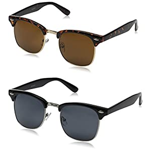 zeroUV Half Frame Semi-Rimless Horn Rimmed Sunglasses (2 Pack | Black / Smoke + Tortoise / Brown)