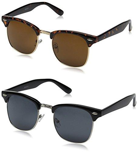 zeroUV Half Frame Semi-Rimless Horn Rimmed Sunglasses (2 Pack | Black / Smoke + Tortoise / Brown)