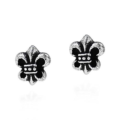 Petite Saint Fleur de Lis Saints .925 Sterling Silver Stud Earrings