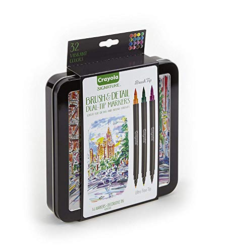 Crayola 58-6501  Brush & Detail Dual Tip Markers, 32 Colors, 16 Count, Multicolor