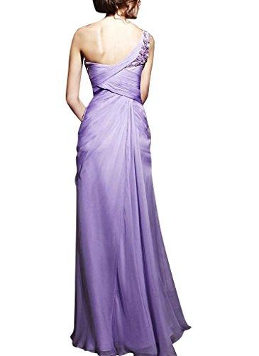 Schulter Abendkleid Mantel Perlen Lila GEORGE bodenlangen einer mit Spalte Applikationen Chiffon BRIDE SIqn0Bf