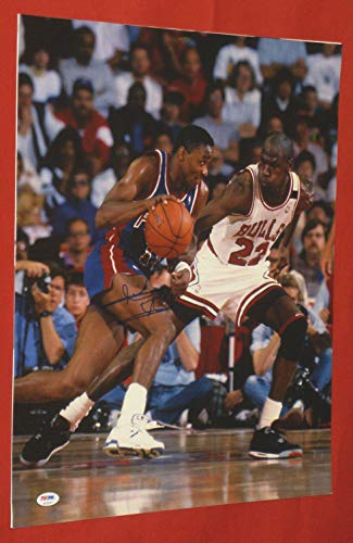ISIAH THOMAS AUTOGRAPHED 16X20 PHOTO DETROIT PISTONS PSA/DNA JORDAN