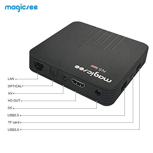 Magicsee N5 Max Android 9.0 TV Box S905X2 Quad Core 4GB Ram 64GB ROM Dual WiFi 2.4G+5G Bluetooth 3D Ultra HD 4K Smart Streaming Media Player with Wireless Mini Keyboard