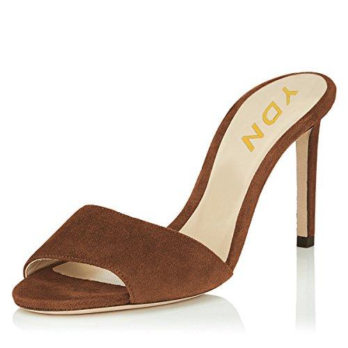 - YDN Women Open Toe High Heel Sandals Slip On Mules Sexy Stilettos Pumps Party Slide Shoes Brown-Suede 7 (10cm)