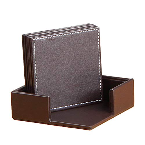Price comparison product image Coasters for Drinks with Stitching, Leather Drink Coasters with Holder Set of 6, Cup Mat Pad Set, Protect Furniture from Water Marks Scratch and Damage for Home Office Hotel, Square, 3.93 * 3.93 inch