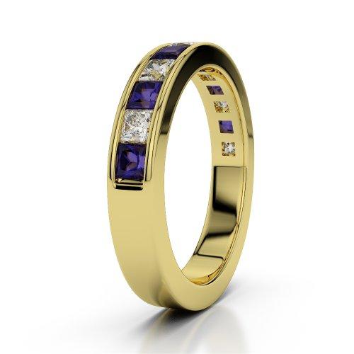 Or jaune 18carats 1CT G-H/VS Certifié Coupe ronde tanzanite et diamants Agdr-1137