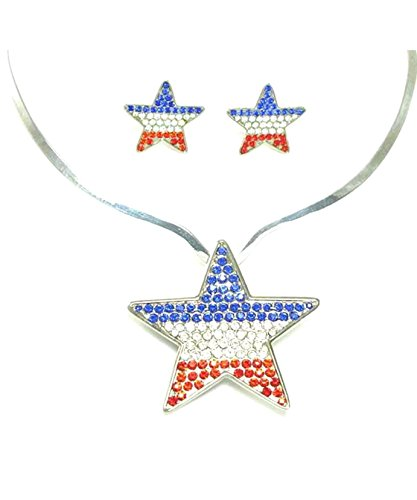 - Indpendence Austrian Crystal Patriotic Pendant & Clip Earrings / AZFJFP171-SMU-FPT