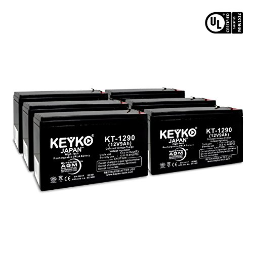 XS1500 APC RCB109 APC BACK-UPS 12V 9Ah / REAL 9.0 Amp Battery PS-1290 AGM / SLA Sealed Lead Acid Rechargeable Genuine KEYKO - F2 Terminal - 6 Batteries by KEYKO