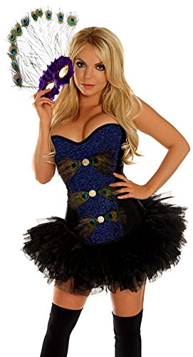 Daisy Corsets Women's Pretty As A Peacock Costume, Blue, Large (Adult Peacock Tutu)