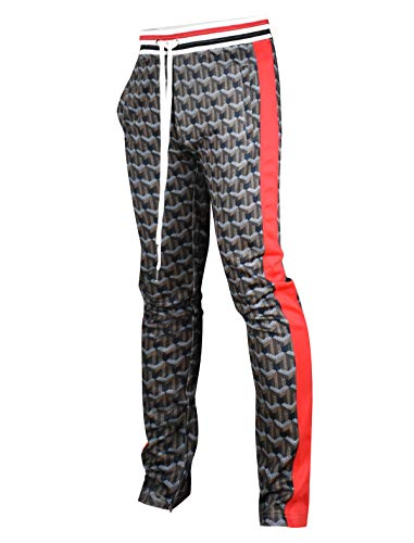 SCREENSHOTBRAND-P11864 Mens Hip Hop Premium Slim Fit Track Pants - Athletic Jogger Pattern Print Taping Bottoms,P11864-brown,Large