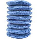 Polyte Microfiber Detailing Wax Applicator Pad, 8 Pack (Blue, 5 in)