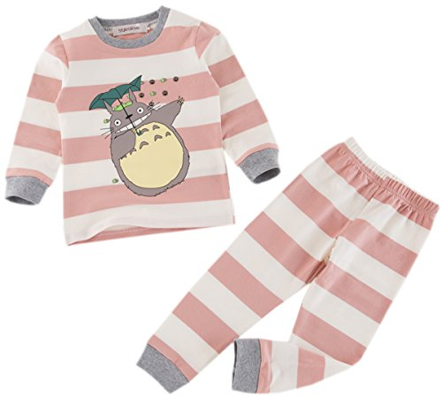 Styles I Love Baby Toddler Boys Girls 2-Piece Totoro Striped Long Sleeve Cotton Lounge Set (Pink, 120/5-6 Years)