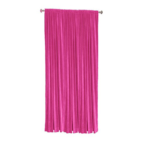 Cotton Velvet Blackout Thermal Insulated Rod Pocket Curtain Panel (Single Panel) by TheVelvetCompany-50''w X 108''h-Fuchsia (108' Rod Pocket)
